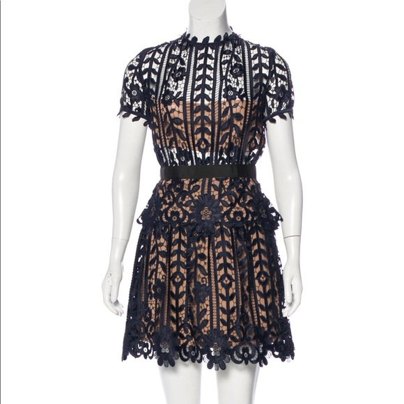 c20dcb497bc5 Self-Portrait Dresses | Selfportrait Navy Lace Aline Dress Us 2 Uk 6 ...